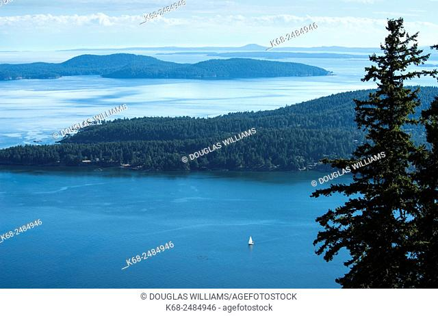 View from Mount Warburton Pike on Saturna Island, Gulf Islands, British Columbia, Canada, looking over Pender Island to the south