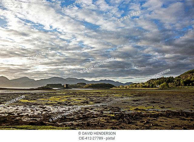 Clouds over marsh landscape, Buchaille Etive Mor, Argyll, Scotland