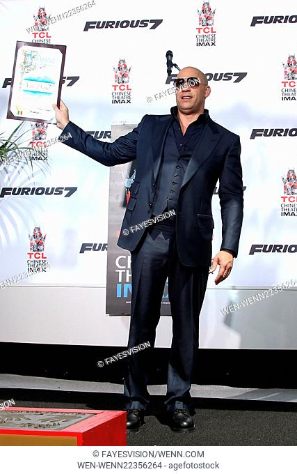 Vin Diesel's hand-print and foot-print ceremony Featuring: VIN DIESEL Where: Hollywood, California, United States When: 01 Apr 2015 Credit: FayesVision/WENN