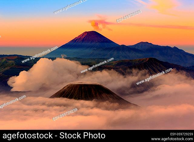 Mt.Bromo, Mt.Semeru, Mt.Batok covered with fog and sulfur gas.These are some of the active volcanoes In East Java, Indonesia