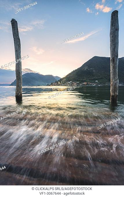 Iseo lake at sunset, Lombardy district, Brescia province, Italy