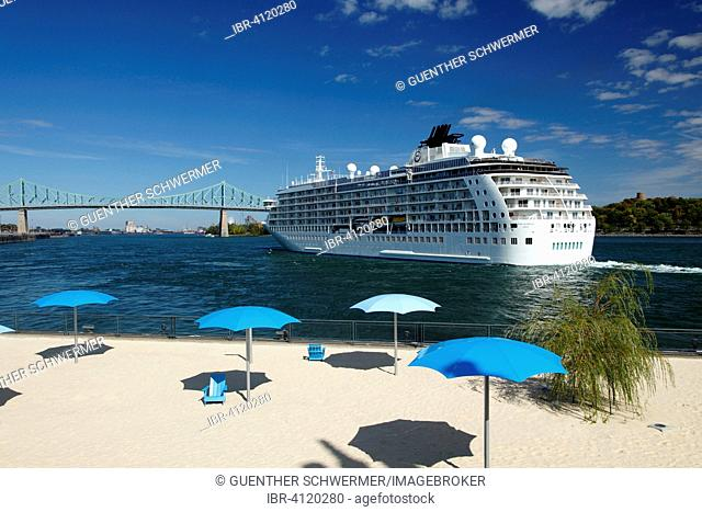 The World cruise ship setting sail from the Port of Montreal, Montreal, Quebec Province, Canada
