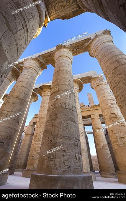 Pillars in the great hypostyle hall, temple of Karnak, Luxor, Egypt