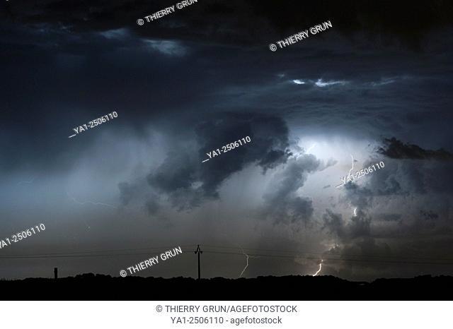 France, Gers , near Jegun, Thunderstorm and lightning at ending summertime
