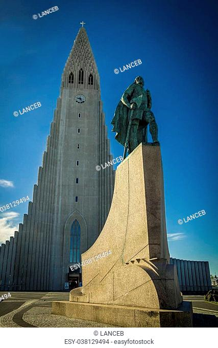 Statue of explorer Lief Eriksson stands before the landmark Hallgrimskirkja church in Reykjavik