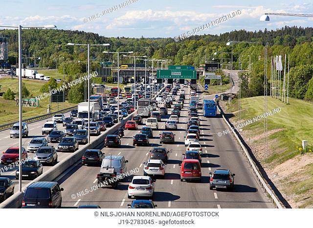 Traffic jam on E4 highway Stockholm, Sweden