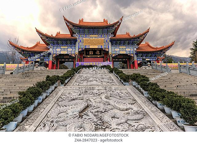 Main gate of Chongsheng temple (The Three Pagodas temple), Dali, China,