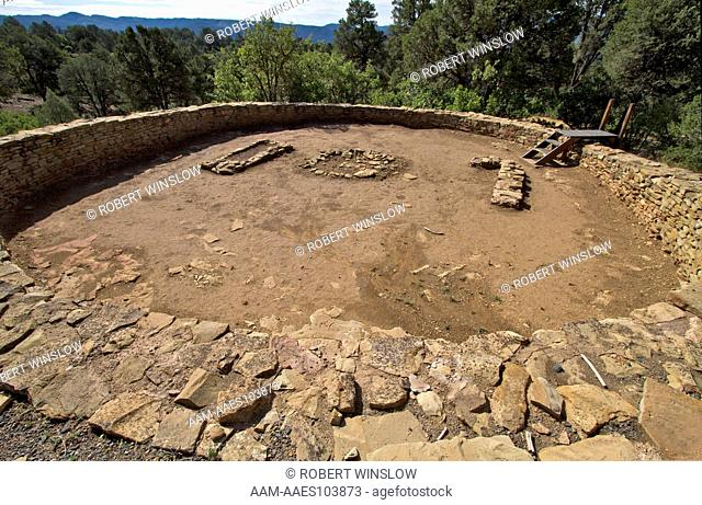 Great Kiva, Ancestral Pueblo Ruins, Chimney Rock Archaeological Area and National Historic Site, San Juan National Forest, Archuleta County, Colorado