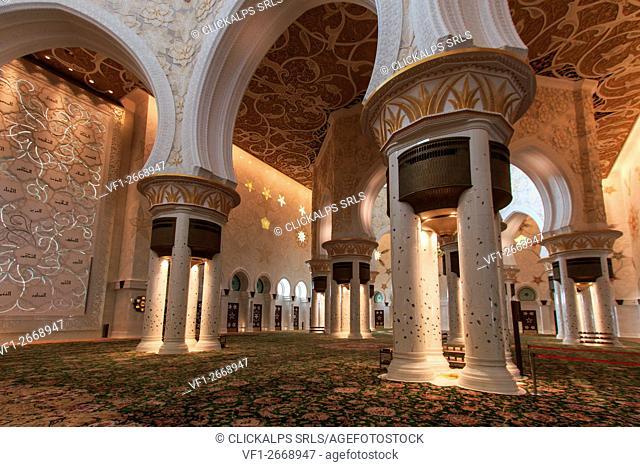 Abu Dhabi, United Arab Emirates. Interior of the Sheikh Zayed Grand Mosque in Abu Dhabi