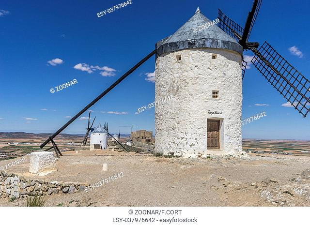 Medieval, windmills of Consuegra in Toledo City, were used to grind grain of wheat and barley