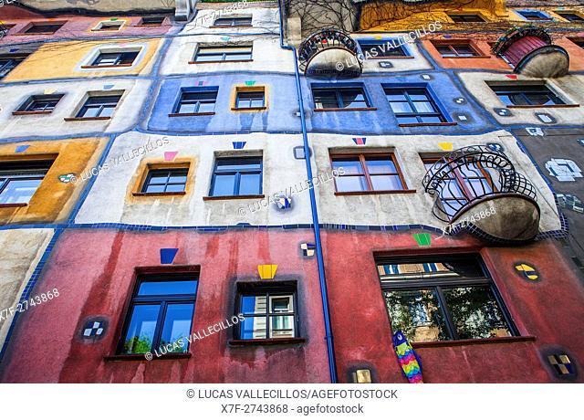Hundertwasser Haus a residential apartment building designed by Friedensreich Hundertwasser, Vienna, Austria