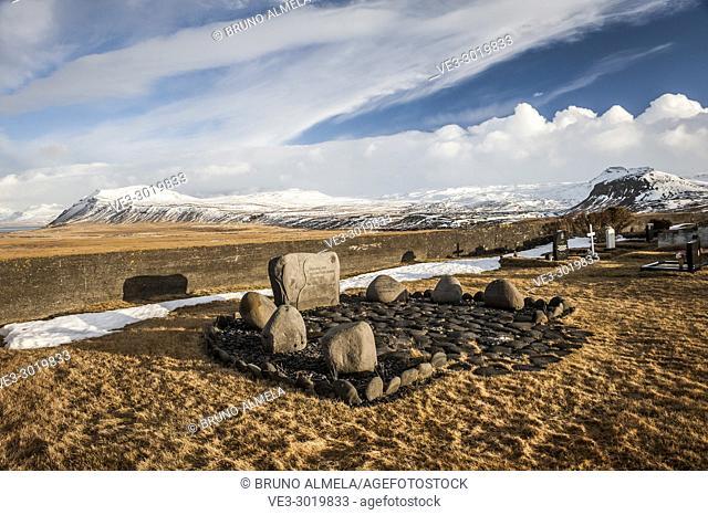 Icelandic graveyard near Ingjaldshóll church in Hellisandur, Snæfellsnes peninsula (region of Vesturland, Iceland)