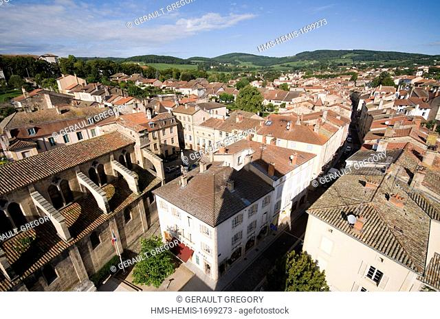 France, Saone et Loire, Cluny, city view from cheeses tower
