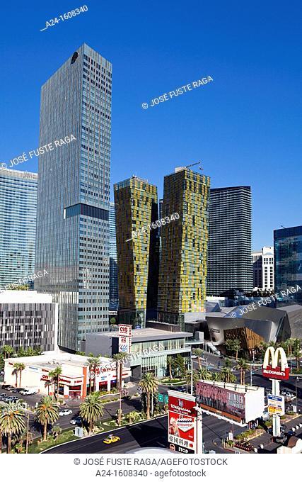 City center skyline, the Strip avenue, Las Vegas, Nevada, USA