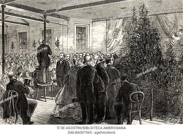 Christmas Entertainment to the Inmates of the Greenwich Union-House, England, United Kingdom, illustration from the magazine The Illustrated London News