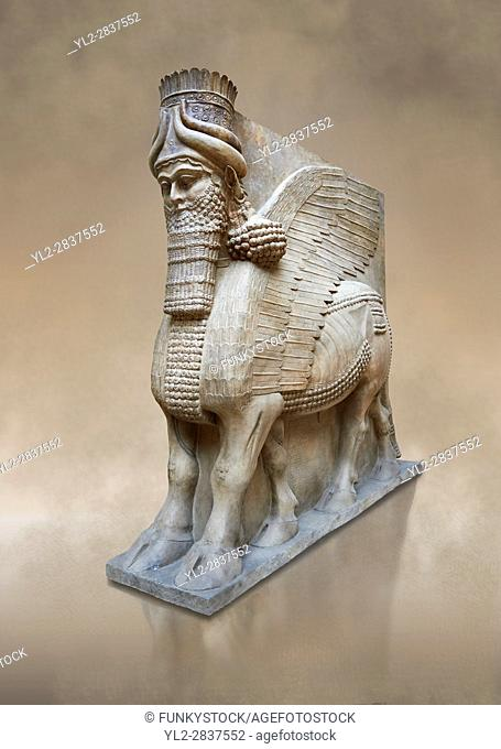 Stone statue of a winged bull. From facade m, door K, Inv AO 19857 from Dur Sharrukin the palace of Assyrian king Sargon II at Khorsabad, 713-706 BC