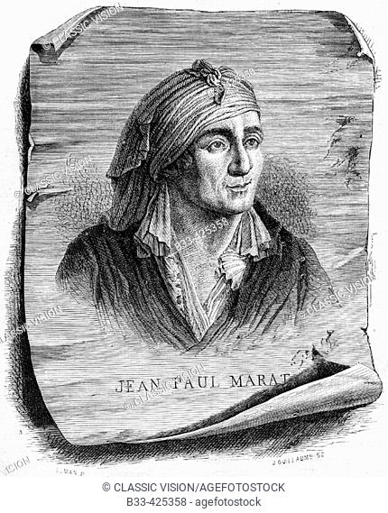 Jean-Paul Marat, 1743-1793. French politician, physician and journalist. Engraved by J. Guillaume after L. Mar. From 'Histoire de la Revolution Francaise' by...