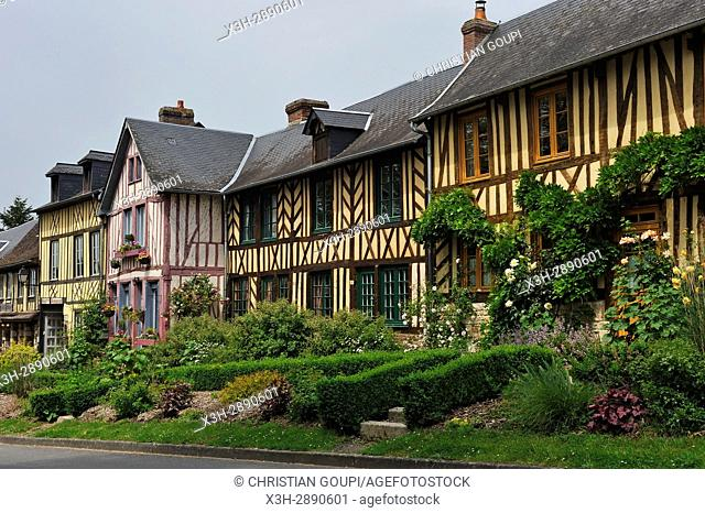 half-timbered houses along the main street of Bec-Hellouin, labelled Les Plus Beaux Villages de France, Eure department, Normandie region, France, Europe