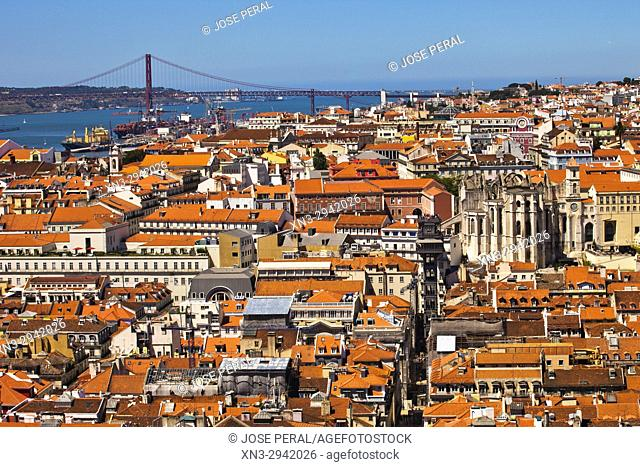 25 April bridge, Tagus River, Santa Justa Lift or Carmo Lift, apse of the Carmo Convent, Baixa Pombalina, from Lisbon Castle, Lisbon, Portugal, Europe