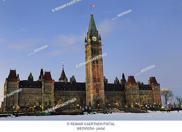 Ottawa Parliament Buildings of Canada Christmas Lights at sundown
