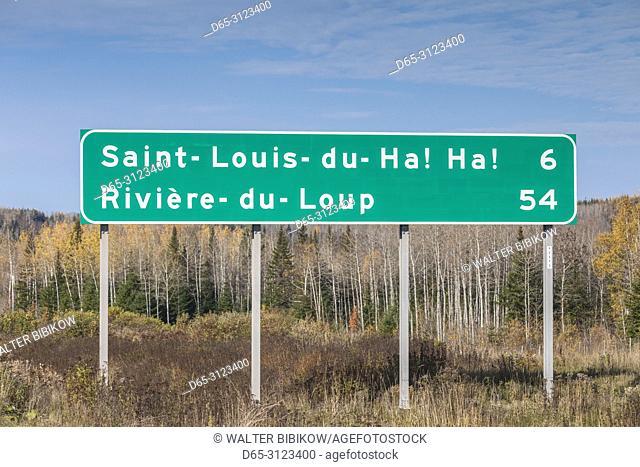 Canada, Quebec, Bas-Saint-Laurent Region, St-Louis de Ha Ha!, town road sign