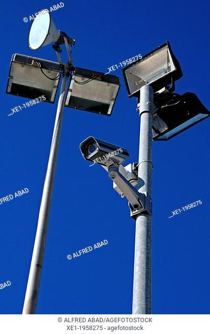 Lights, security cameras, Vilanova i la Geltru, Catalonia, Spain