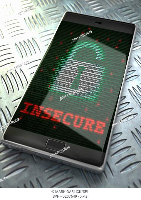 Smartphone security, conceptual illustration