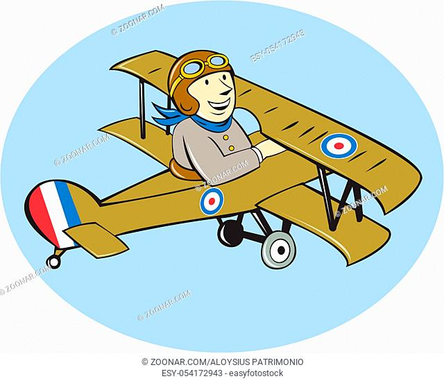 Illustration of a British airforce world war one pilot flying a Sopwith Camel Scout which is a single-seat fighter aircraft propeller airplane done in cartoon...