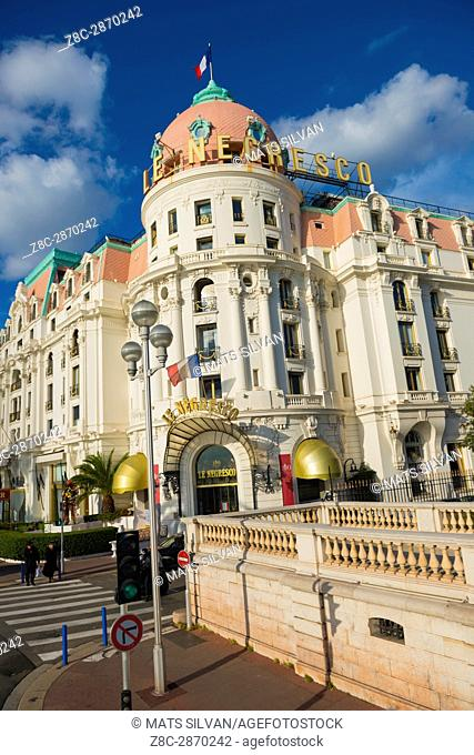 Hotel Le Negresco in a Sunny Day in Nice in Provence-Alpes-Côte d'Azur, France