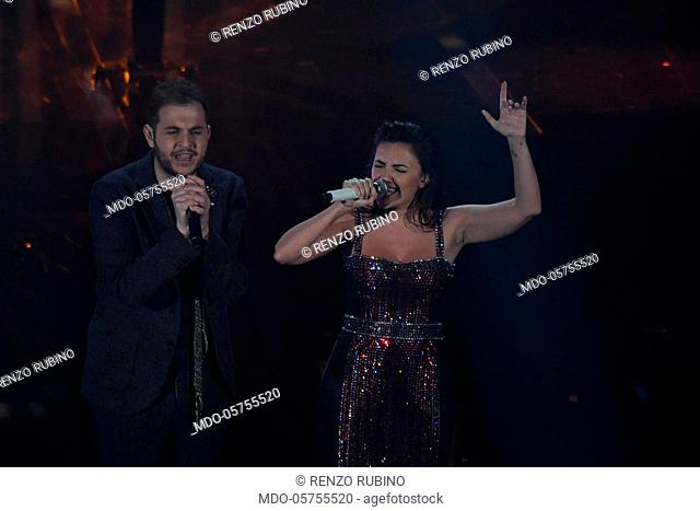 Italian singer Renzo Rubino and italian actress Serena Rossi performs on the Ariston stage during the 68th Festival di Sanremo