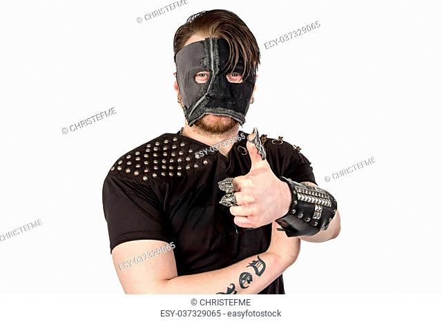 Photo of the man in mask with thumb on white background