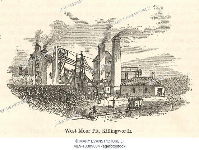 West Moor Pit, Killingworth, near Newcastle, north-east England, showing the pithead and a wagon of coal