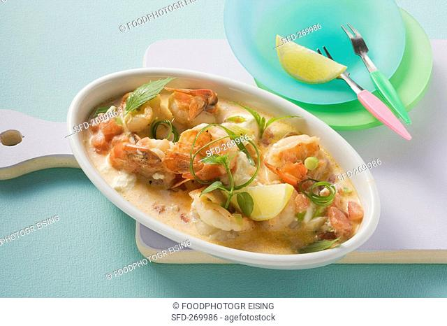 Prawns with a sheep's cheese sauce