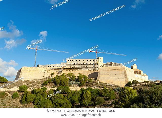 Cranes at Ibiza Cathedral, Old Town, Dalt Vila, Eivissa, Ibiza, Balearic Islands, Spain, Mediterranean, Europe