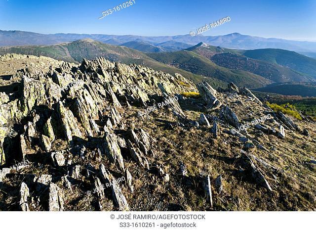 San Cristobal hill from the Tornera peak in the Sierra Norte Puebla de la Sierra Madrid Spain