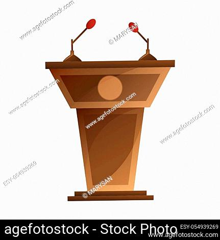 Speaker podium with microphones isolated cartoon design. Grandstand for debates or press conference vector illustration in flat style