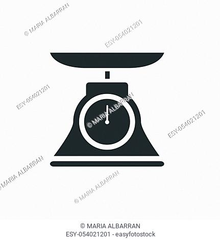 Commercial weight scale icon for stores and pharmacies. Isolated vector illustration