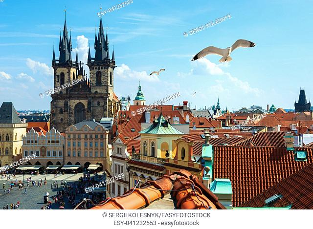 View on Old Town Square from above at summer day, Prague