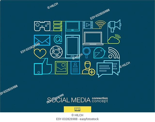 Social media integrated thin line symbols. Modern linear style vector concept, with connected flat design icons. Illustration for digital network, internet