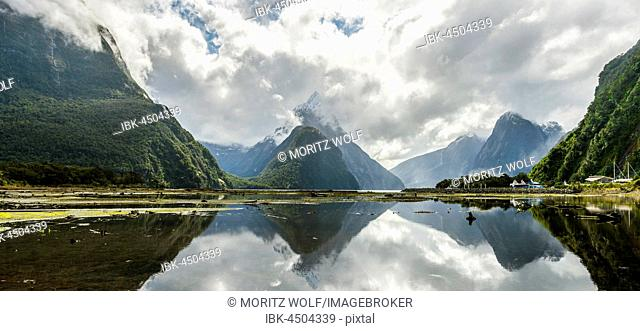 Miter Peak reflected in the water, Milford Sound, Fiordland National Park, Te Anau, Southland Region, Southland, New Zealand