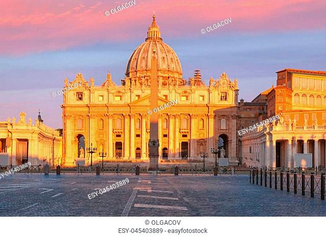 Panoramic view of The Papal Basilica of St. Peter in the Vatican or Saint Peter Cathedral at sunrise in Rome, Italy