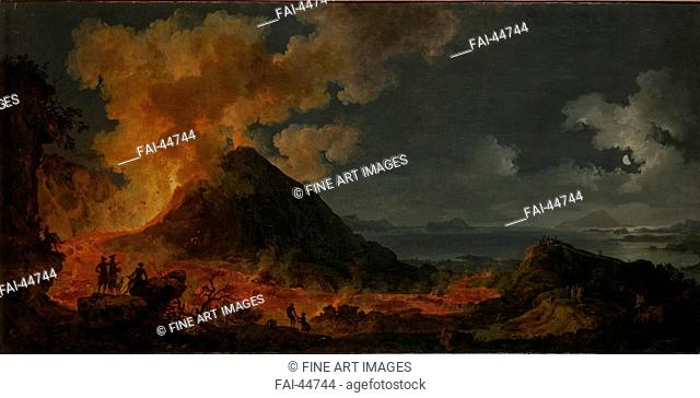 The eruption of Vesuvius by Volaire, Pierre Jacques (1729-1802)/Oil on canvas/French Painting of 18th cen./1771/France/State Hermitage, St