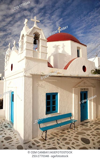 View to the red domed church in town center, Mykonos, Cyclades Islands, Greek Islands, Greece, Europe