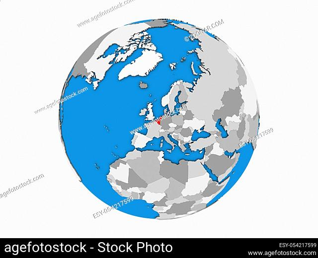 Benelux Union on blue political 3D globe. 3D illustration isolated on white background
