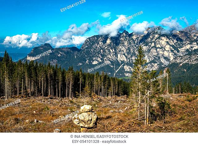 Panoramic view of the Voelseggspitz, Hammerwand and Mittagskofel mountains in the Schlern Rosengarten massif area in the italian Doolomites