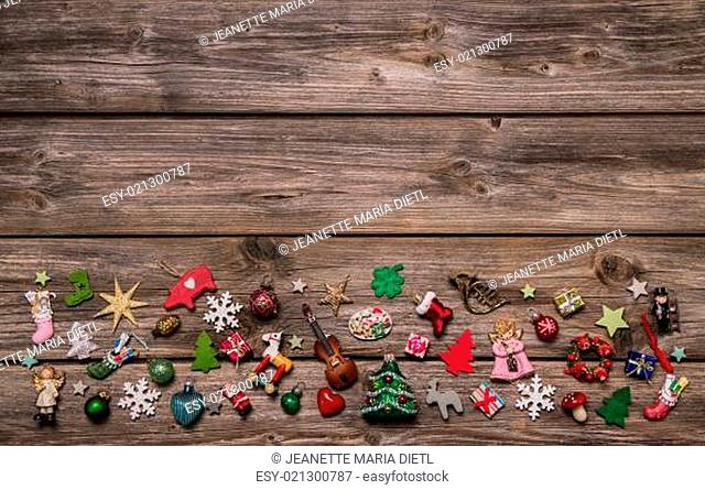 Wooden xmas or christmas background with colorful decoration