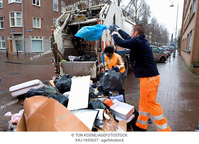 Collection of waste disposal in Amsterdam the Nethrlands Carbage is being incinerated in powerstations for generating electricty