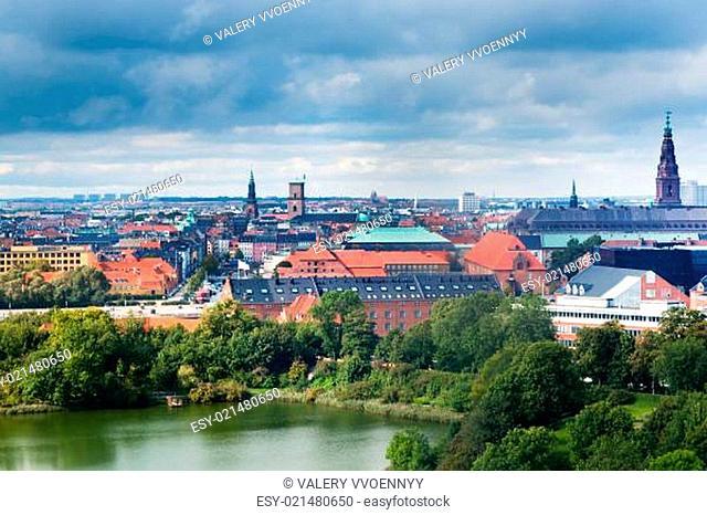view on center of Copenhagen, Denmark