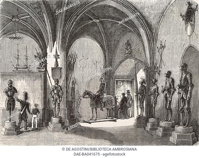 Armory room in the museum of Halle gate, Brussels, Belgium, illustration by Blanchard, engraving by Best, Hotelin and Co, from L'Illustration, Journal Universel