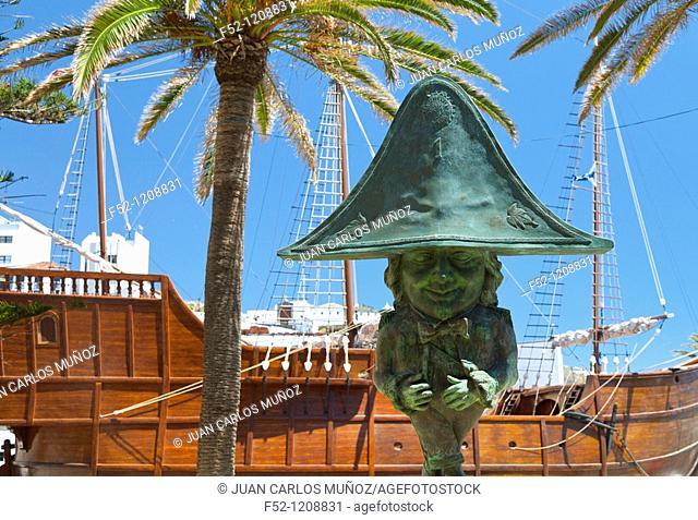 Enano de la Virgen sculpture and Naval Museum (aka Barco de la Virgen) in background, Plaza de la Alameda, Santa Cruz de la Palma, La Palma, Canary Islands